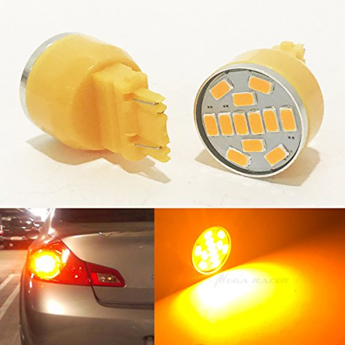 - Mega Racer 3157 3057 3156 3157A 3357 4157 Amber-Yellow LED 19 Chip P27/7W W2.5x16Q WU2.5q T25 (Rear Turn Signal Light Bulb) Car US
