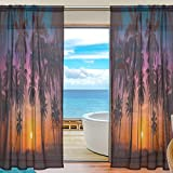 Tropical Plam Trees Sunset Sheer Curtain for Living Room Bedroom,55 x 84 Inches Long,Golden,Window Treatments,Rod Pocket,Polyester Fabric,Set of 2 Panels Review