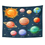 TOMPOP Tapestry Planets of The Solar System Sun Mercury Venus Earth Home Decor Wall Hanging for Living Room Bedroom Dorm 60x80 Inches
