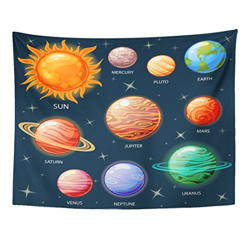 TOMPOP Tapestry Planets of The Solar System Sun Mercury Venus Earth Home Decor Wall Hanging for Living Room Bedroom Dorm 60x80 Inches by TOMPOP