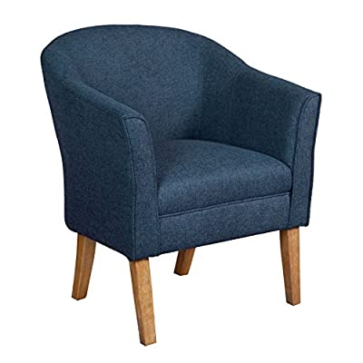 HomePop Chunky Textured Accent Chair, Blue - Features a fun modern barrel shape Driftwood finished legs Some assemble required - living-room-furniture, living-room, accent-chairs - 51k1UQM0vwL. SS400  -