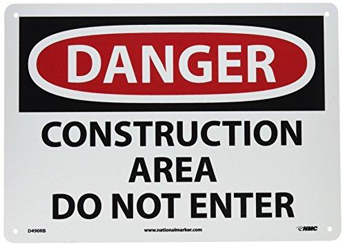 "NMC D490RB OSHA Sign, Legend ""DANGER - CONSTRUCTION AREA DO NOT ENTER"", 14"" Length x 10"" Height, Rigid Plastic, Red/Black on White"