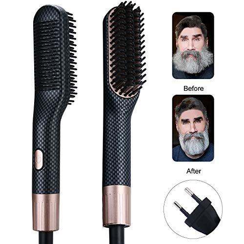 2 in 1 Bartglätter für Männer plus Haarglätter für Frauen (160-200℃) 3 Temperaturen von 30 Sekunden PTC Keramikheizung Technologie, Männer Glattes Haar kämme mit Anti Verbrühen