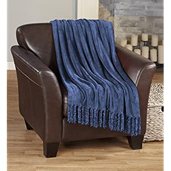 Home Fashion Designs Ultra Velvet Plush Super Soft Blanket in Solid Colors. Lightweight, Warm Throw Blanket with Decorative Fringe. Raya Collection By Brand. (Navy)
