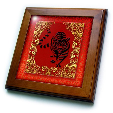 (3dRose ft_101855_1 Chinese Zodiac Year of The Tiger Chinese New Year Red, Gold and Black-Framed Tile, 8 by 8-Inch)