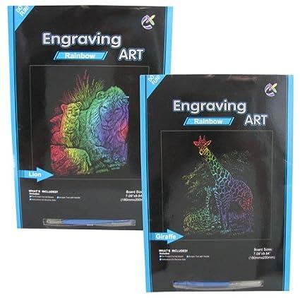 -Lion//Giraffe Pack of 2 Rainbow Animal Foil ART KIT