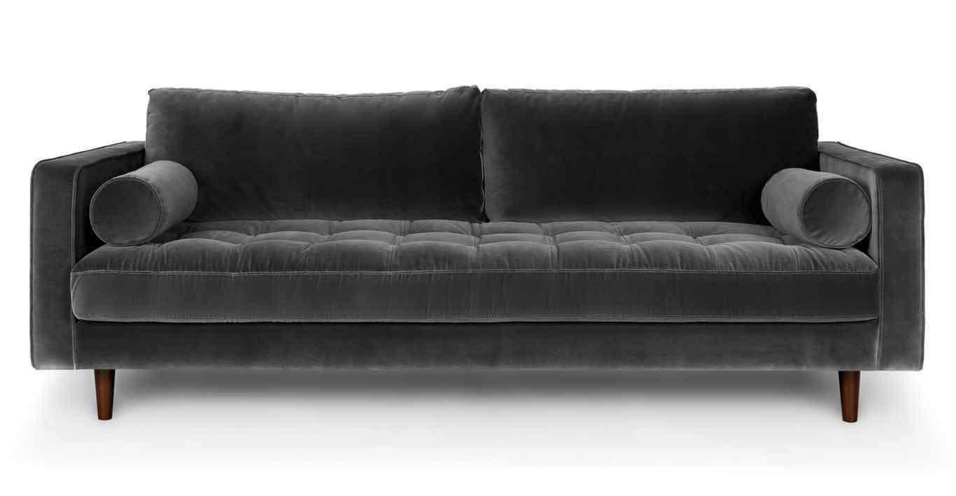 Cool Harper Scott Grey Blue Velvet 2 Or 3 Seater Sofa Modern Inzonedesignstudio Interior Chair Design Inzonedesignstudiocom