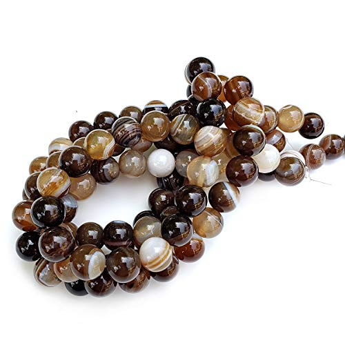 Chengmu 8mm Brown Striped Agate Beads for Jewelry Making Natural Gemstone Round Loose Spacer Beads Assortments Supplies Accessories for Bracelet Necklace with Elastic Cord ()