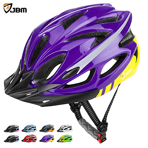 JBM Adult Cycling Bike Helmet Specialized for Mens Womens Safety Protection Red / Blue / Yellow (Purple & Yellow, Adult) Purple Womens Helmet