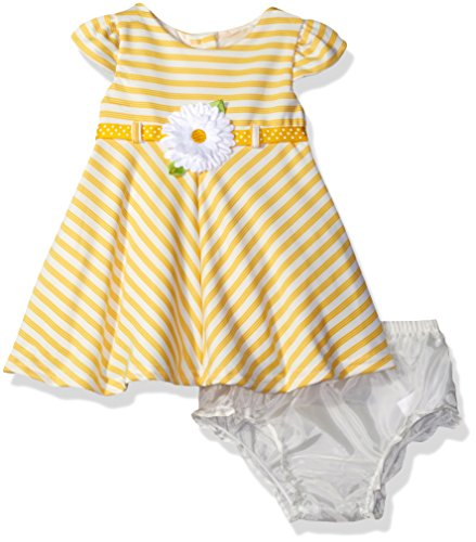 Sweet Heart Rose Baby Girls' Striped Knit Short Sleeve Dress with Daisy Trim, Yellow/White, (Daisy Knit Dress)
