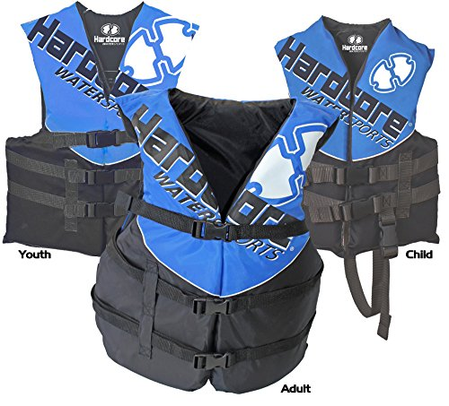 Hardcore Water Sports Youth Life Jacket Vest - US Coast Guard approved Type III (ONE VEST INCLUDED)