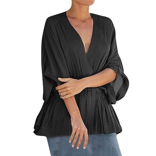 061e4b4d19ef Fainosmny Womens Shirts Loose Tops V-Neck Blouse Summer Tunic Tees Solid  Work Tops Casual