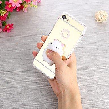 Fundas y estuches para teléfonos móviles, Caso para el iphone 7 más 7 caja diy blanda de la contraportada del caso de la relevación de la tensión caso suave del tpu de la ( Color : Rosado , Modelos Co Plateado