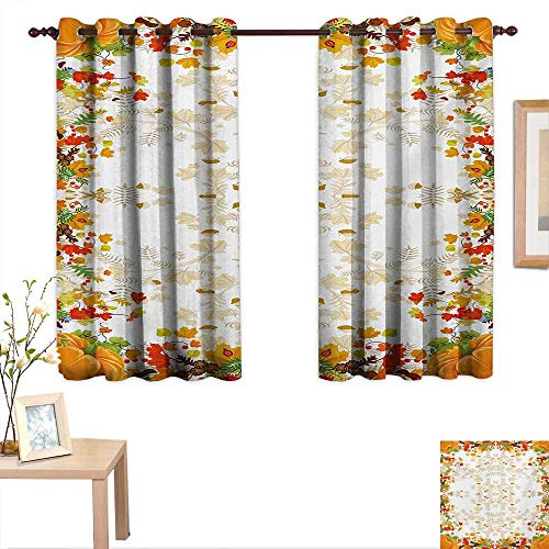 Thanksgiving Thermal Insulating Blackout Curtain Fall Colors Ladybug Maple Leaf Woods Pine Nuts Berries Design Pattern 55
