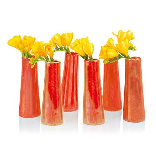 Chive - Galaxy, Small Cylinder Ceramic Bud Flower Vase, Unique Single Flower Decorative Floral Vase for Home Decor, Bulk Set of 6 (Mini Centerpiece Set)