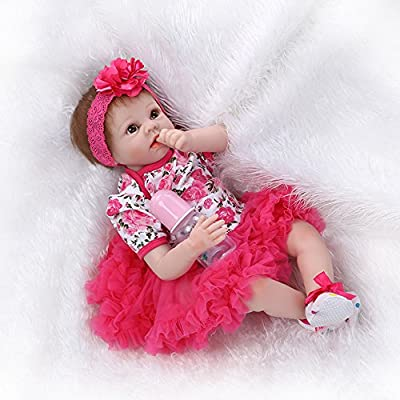 Nicery Reborn Baby Doll Soft Simulation Silicone Vinyl 22inch 55cm Magnetic Mouth Lifelike Boy Girl Toy Red Flower: Toys & Games