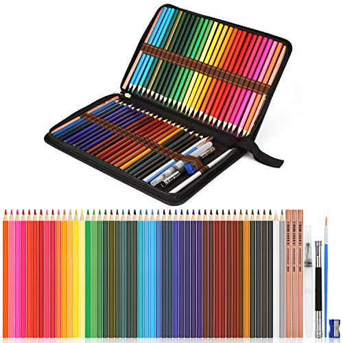 Watercolor Pencils, AGPTEK Professional Watercolor Pencils Set, 48 Colored Pencils with Dip Pens,Pencil Extender,Three 2B Pencils,Water Brush pen,Pencil sharpener and Zipper Case