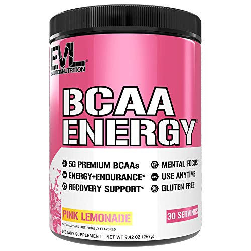 Evlution Nutrition BCAA Energy - Essential BCAA Amino Acids, Vitamin C & Natural Energizers for Performance, Immune Support, Muscle Building, Recovery, B Vitamins, Pre Workout, 30 Serve, Pink Lemonade