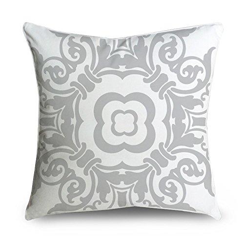 FabricMCC luz Gris y Blanco Vintage Damask Manta Decorativa ...