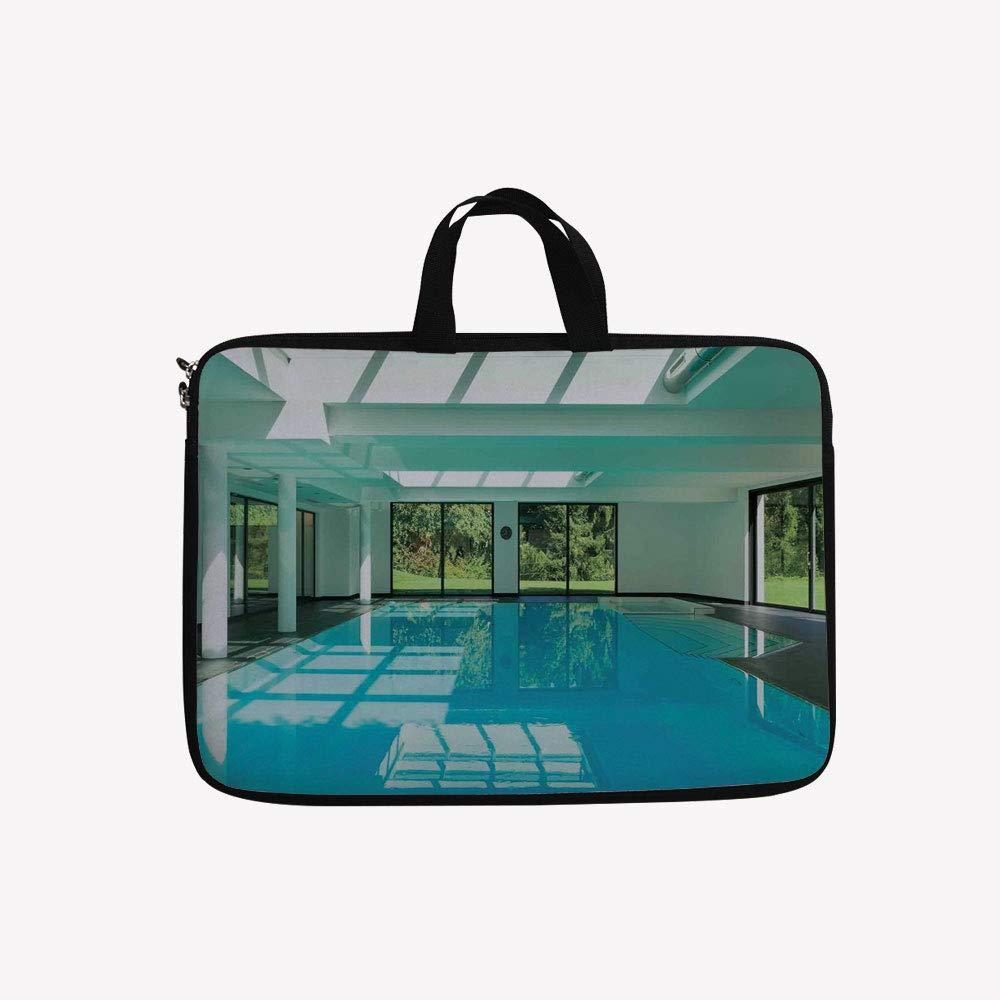 訳あり 3Dプリントダブルジッパーラップトップバッグ、Pool of a Modern House with Spa Window inch(13