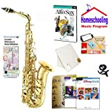 Homeschool Music - Learn to Play the Alto Sax Pack (Disney Music Book Bundle) - Includes Student Alto Sax w/Case, DVD, Books & All Inclusive Learning Essentials