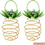 KAZOKU Outdoor Decor Solar Hanging Light with 30 LEDs,【UPGRADED Copper Wire】Garden Lights Copper Wire Pineapple Solar Lights,Decoration Lighting For Patio,Deck,Yard,Garden,Path,Driveway (2 Pack)