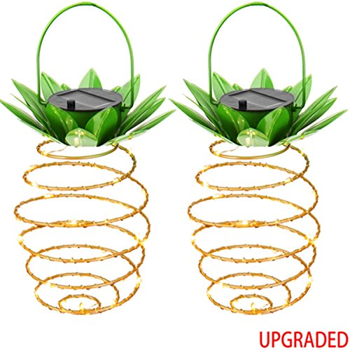 KAZOKU Outdoor Decor Solar Hanging Light with 30 LEDs,【UPGRADED Copper Wire】Garden Lights Copper Wire Pineapple Solar Lights,Decoration Lighting For Patio,Deck,Yard,Garden,Path,Driveway (2 Pack) by KAZOKU