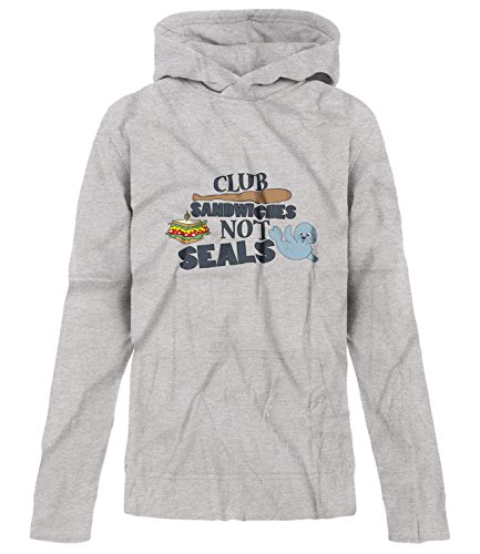 Seals Not Sandwiches Club Hoodie (BSW Youth Girls Club Sandwiches Not Seals Play On Words Theme Hoodie SM Grey)
