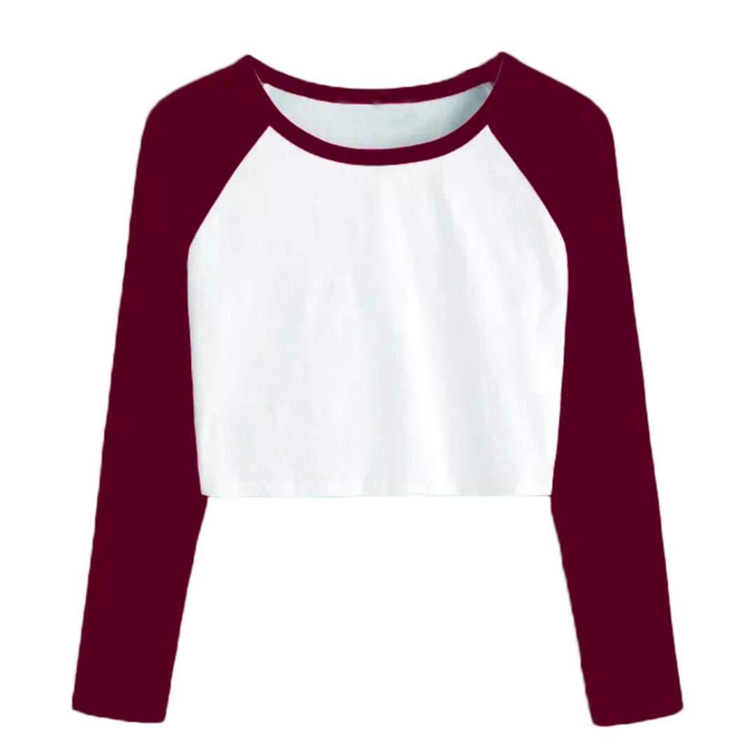 iQKA Women Raglan Sweatshirt Splicing Casual Long Sleeve O-Neck Crop Top Blouse Shirt(Wine,X-Large)