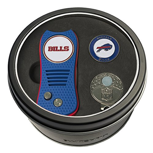 Team Golf NFL Buffalo Bills Gift Set Switchblade Divot Tool, Cap Clip, & 2 Double-Sided Enamel Ball Markers, Patented Design, Less Damage to Greens, Switchblade Mechanism