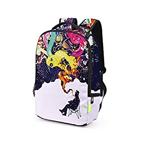 School Bag,Han Shi Women Men 3D Galaxy Travel Satchel Stylish Unisex Canvas Book Bag Shoulder School Bag (Multicolour, A)