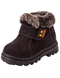 DADAWEN Boy's Girl's Leather Waterproof Winter Boots (Toddler/Little Kid/Big Kid)
