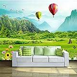 Amazhen Fresh Grassland Hot Air Balloon 3D TV Backdrop Custom 3D Wallpaper Wallpaper behang,200cm504cm