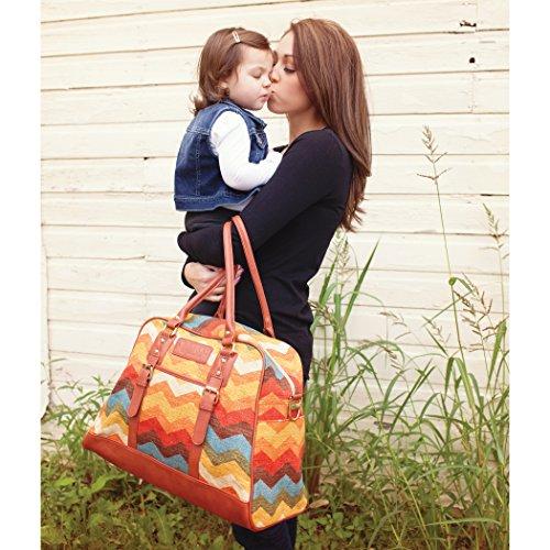 Waverly Baby by Trend Lab Panama Wave Adobe Carryall Diaper Bag, Orange