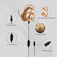 XIBERIA USB Headset with Microphone Gaming Over Ear Surround Sound Headphones for PC / Laptop / Computer - (Gold) by XIBERIA