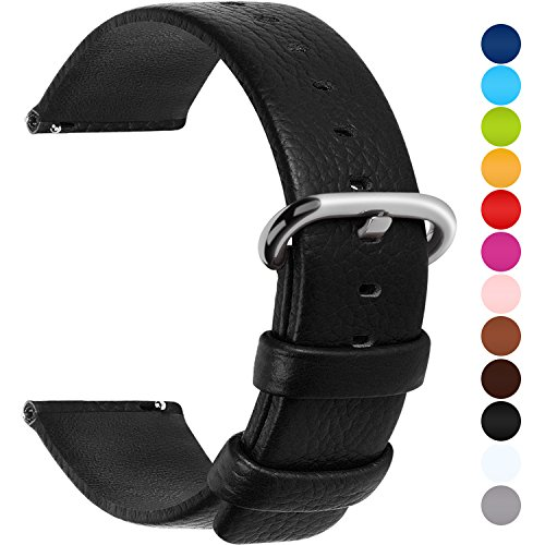 12 Colors for Quick Release Leather Watch Band, Fullmosa Uli Genuine Leather Watch Strap 20mm Black Black Classic Watch Band