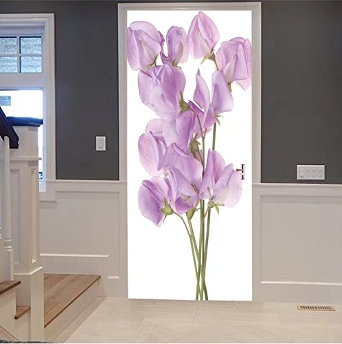 scocici1588 3d Door Wall Mural Wallpaper Stickers-studio shot of lilac colored sweet pea flower For  Room Decor 30x79