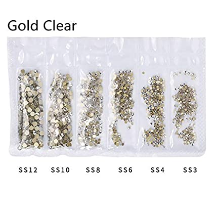 Buy SYHUEW Gold Clear  1 Pack Flatback Glass Nail Rhinestones Mixed Sizes  Ss3-Ss12 Nail Art Decoration Stones Shiny Gems Manicure Accessories Gold  Clear ... 3260e5c891df