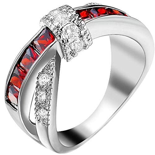 YABINI Women White Gold Plated Red Ruby Round Princess Cut CZ X Criss Cross Ring Eternity Promise Wedding Band