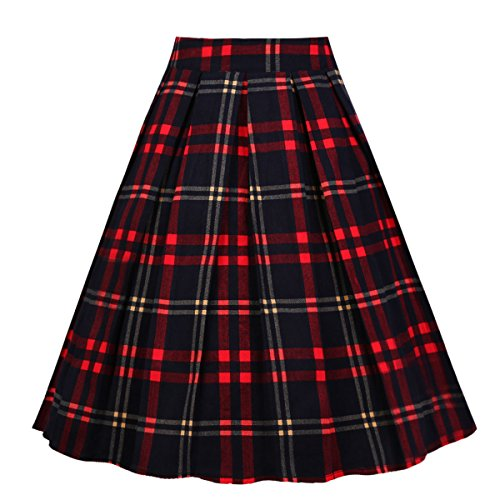 Girstunm Women's Pleated Vintage Skirt Floral Print A-line Midi Skirts with Pockets Red-Black XXX-Large