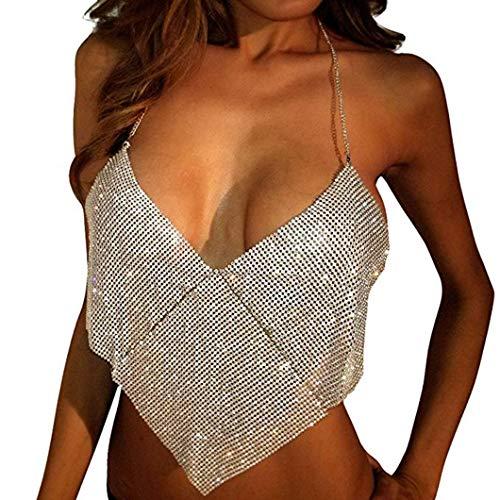 (Flyrose Women Sexy Body Chain Sleeveless Metal Vest Sequin Crop Top Shirts)