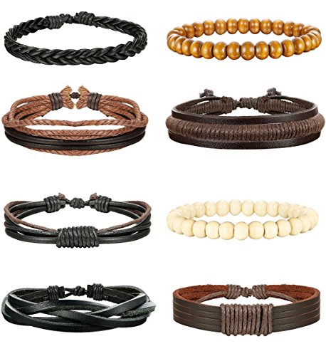 LOLIAS 8 Pcs Leather Bracelet for Men Women Wooden Beaded Bracelets Adjustable,Y