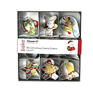 Dexam 4 cm Tinplate Mini Christmas Cookie Cutters, Set of 9 ...