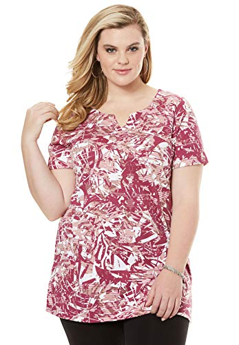 (Roamans Women's Plus Size Print Notch Neck Tunic - Ruby Berry Abstract, 1X)