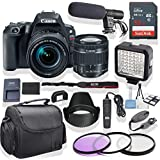 Canon EOS Rebel SL2 DSLR Camera 18-55mm Lens (Black) Kit + Pro LED Light + Stereo Mic + Gadget Bag +3 Piece Filter Kit + Premium Accessory Bundle