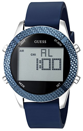 GUESS Men's Quartz Stainless Steel and Silicone Casual Watch, Color:Blue (Model: U1037G1)