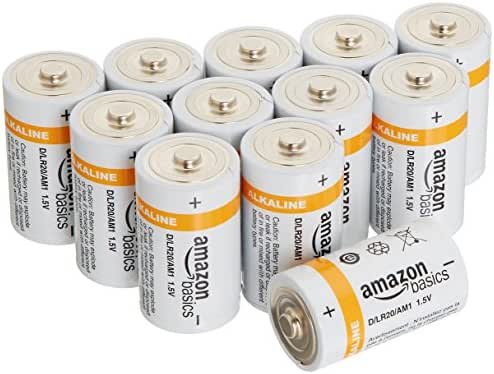 AmazonBasics D Cell 1.5 Volt Everyday Alkaline Batteries - Pack of 12