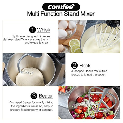 Comfee 4.75Qt 7-in-1 Multi Functions Tilt-Head ABS housing Stand Mixer with SUS Mixing Bowl. 4 Outlets with 7 Speeds & Pulse Control and 15 Minutes Timer Planetary Mixer ¡­ by COMFEE' (Image #5)