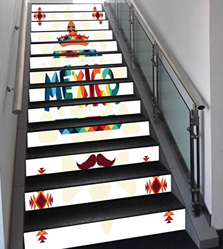 Stair Stickers Wall Stickers,13 PCS Self-Adhesive,Mexican Decorations,Mexico Traditional Aztec Motifs and Sombrero Straw Hat Moustache Graphic,Multi,Stair Riser Decal for Living Room, Hall, Kids Room