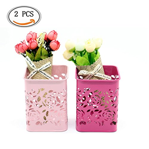 IDS 2pcs Hollow Rose Flower Pattern Pen Pencil Pot Holder, Metal Pen Pencil Cup For Desk, Rose Red, Pink